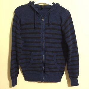 J Crew Mens Henley Hoodie Full Zip Sweater Sz Med